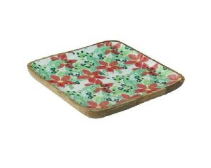 Flower Printed Square Serving Platter