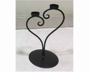 Wire Metal Heart Pillar Candle Holder