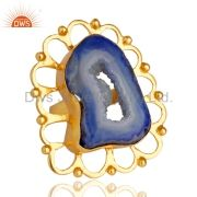 Handmade Blue Agate Druzy Slice Yellow Gold Plated Pendant