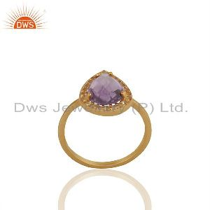 Pear Shape Amethyst Birthstone White Topaz 925 Silver Gold Plated Ring