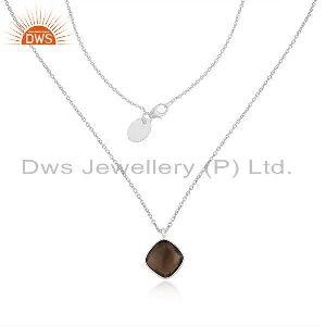 Smoky Quartz Gemstone Fine Sterling Silver Chain Pendant Necklace