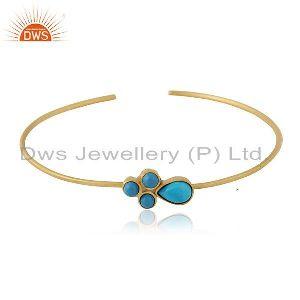 Turquoise Gemstone Designer Gold Plated Brass Fashion Cuff Bangle