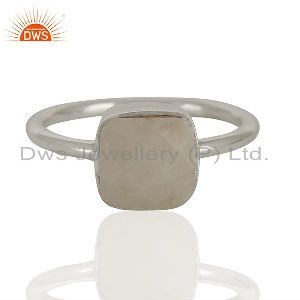White Agate Gemstone 925 Solid Silver Stackable Rings