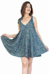 Women Regular Vintage Silk Printed Dress