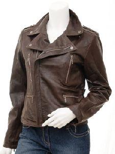 Ladies Sheep Genuine Leather Biker Jacket