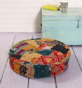 Vintage Kantha Stitched Patchwork Cotton Filled Ottoman Round Reversible Floor Cushion