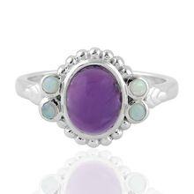 Opal Ethiopian Silver 925 Sterling Amethyst Natural Gemstone Ring