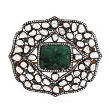 Rose Cut Diamond Silver 925 Emerald Women Hair Brooch