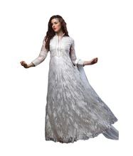 White Color Casual Wear Embroidered Net Semi-stitched Gown