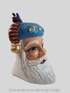 Handmade Paper Mache Christmas Santa Claus Face Pen Stand