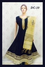 Classy Black And Shainy Golden Chanderi Anarkali Suit