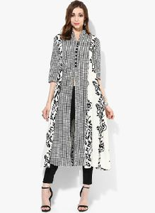 Printed Anarkali Front Open Kurtis With Band Collar