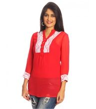 Long Sleeves Red Lace Top