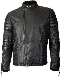 Biker Fashion Long Sleeve Round Neck Leather Jacket
