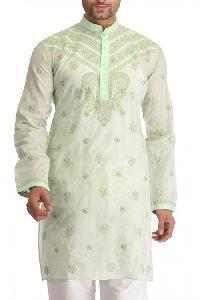 Hand Embroidered Green Cotton Lucknow Chikankari Mens Kurta