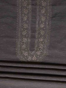 Hand Embroidered Grey Cotton Lucknow Chikankari Mens Kurta