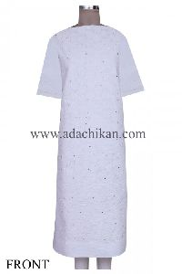 Embroidered White Cotton Lucknow Chikan Unstitched Kurta