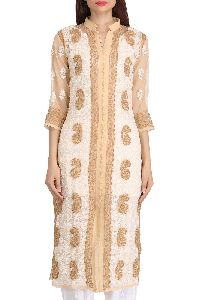Embroidered Fawn Faux Georgette Lucknow Chikan Kurti