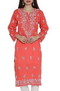Hand Embroidered Carrot Pink Cotton Lucknow Chikan Kurti
