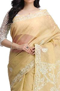 Hand Embroidered Fawn Cotton Lucknow Chikan Saree