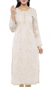 Hand Embroidered Fawn Cotton Lucknowi Chikan Kurti