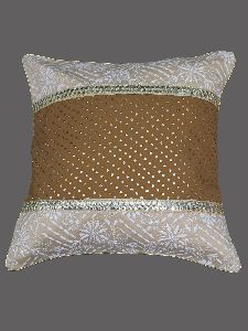 Hand Embroidered Fawn Tusser Silk Lucknow Chikankari Cushion Cover