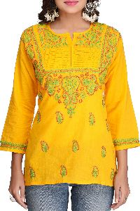 Hand Embroidered Yellow Pure Cambric Cotton Lucknow Chikan Top