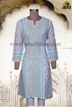 Lucknowi Chikan Hand Embroidered Cotton Kurti