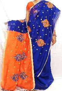 Handloom Silkcotton Rose Embroidery Saree