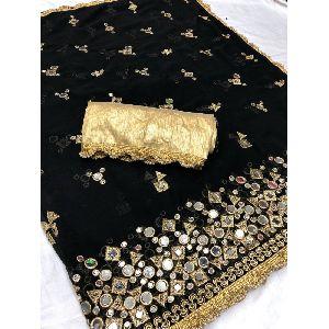 Readymade Heavy Marble Black Silk Sari