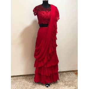 Readymade Red Pure Georrgte With Four Side Ruffle Lace Blouse
