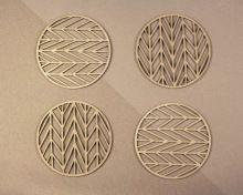 Set Of 4 Pieces Wooden Laser Coaster