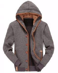 Mens Winter Wear Zipper Hooded Jacket