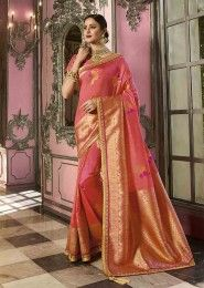 Banarasi Silk Embroidery And Stone Work Wedding Sarees