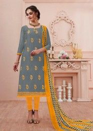 Chanderi Cotton Foil Printed Churidar Suits