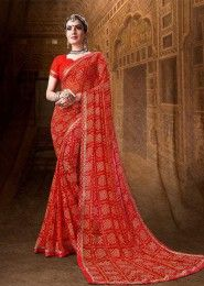 Designer Bandhani Printed Daily Wear Georgette Sarees