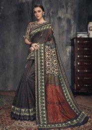 Digital Printed Casual Wear Linen Fancy Sarees