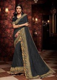 Wedding Wear Designer Embroidery Work Saree