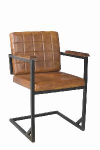 Iron Frame Arm Leather Chair Loft Industrial Dining Chair