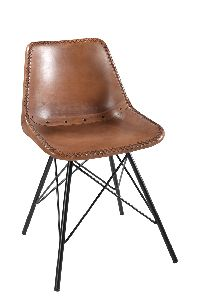 Upholstery Giron Iron and Leather Dining Chair