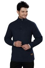 Elegance Cut Navy Blue Cotton High Neck Zipper Sweater