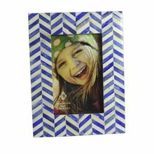 Zig Zag - Dyed Blue And Natural Bone Inlay Photo Frame