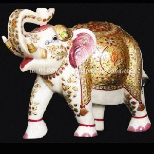 Decorative White Marble Handicraft Painted Elephant Statue