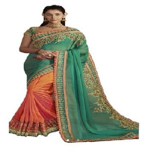 New Heavy Designer Net With Embroidery Georgette Saree