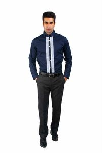 Navy Party Wear Shirt With Detailed Cuffs