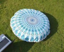 Indian Sky Blue Round Mandala Tapestry Floor Pillows