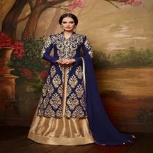 4 Silk Blue Color Embroidered Lehanga