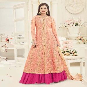 Designer Peach Color Silk Embroidered Indo-westorn Salwar Kameez