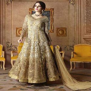 Fancy Beige Color Silk Embroidered Anarakali Suit