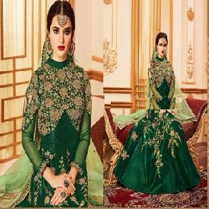 Green Color Wedding Affair Designer Anarkali Suit
